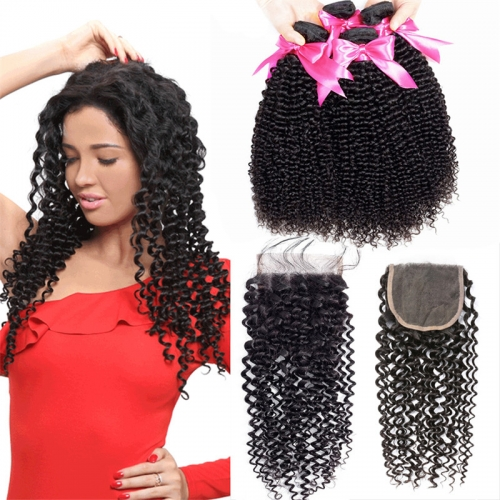 4 Bundles Kinky Curly Hair Weft With Lace Closure New Hair Style