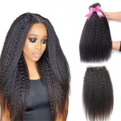 3 Bundles Kinky Straight Hair Weft With Lace Closure Top Quality Top Selling No Chemical