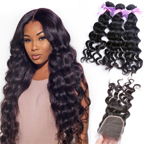 3 Bundles Natural Wave Wavy With Lace Closure No Tangle Human Hair