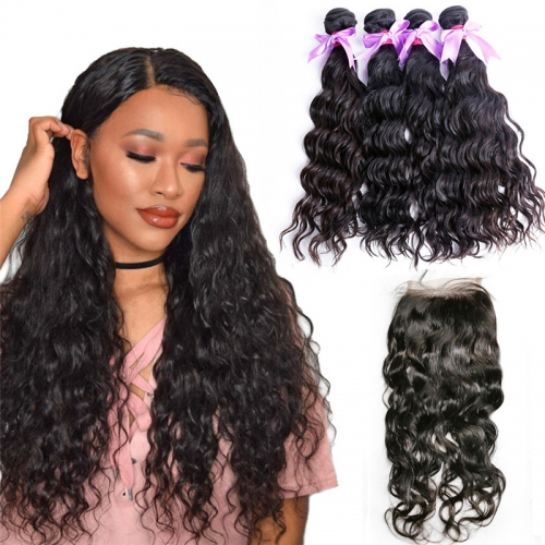 4 Bundles Water Wave Hair Weft With Lace Closure Natural Black Color No Chemical