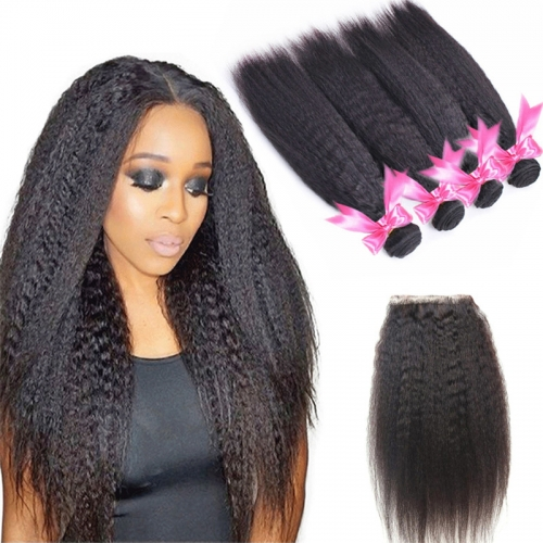 4 Bundles Kinky Straight Hair Weft With Lace Closure Natural Black Color
