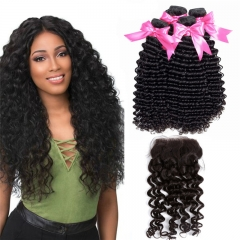 4 Bundles Deep Wave Hair Weft With HD Lace Closure Cheap Remy Human Hair