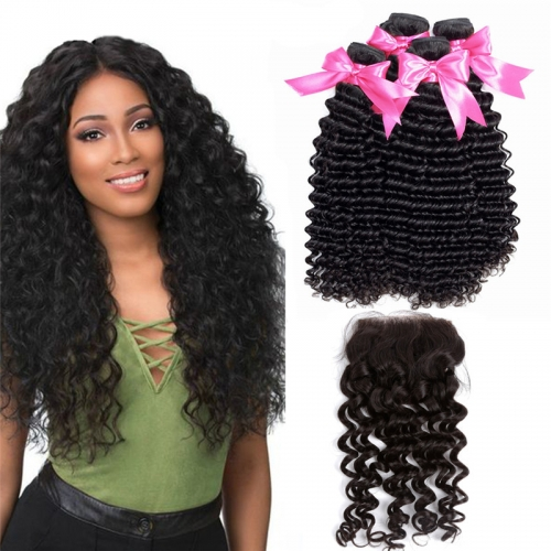 4 Bundles Deep Wave Hair Weft With Swiss Lace Closure Cheap Remy Human Hair