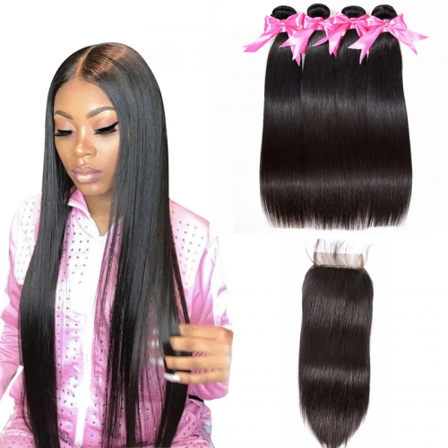 4 Bundles Straight Hair Weft With HD Lace Closure Natural Black Color No Chemical