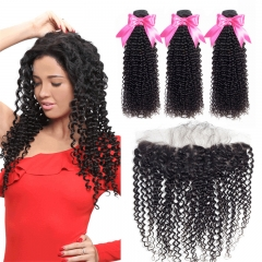 3 Bundles Kinky Curly Hair Weft With 13x4 Lace Frontal with baby hair