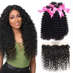 4 Bundles Deep Wave Hair Weft With 13x4 Transparent HD Lace Frontal Wtih Baby Hair