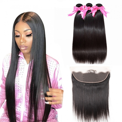 3 Bundles Straight Hair Weft With 13x4 HD Transparent Lace Frontal With Baby Hair Full And Thick