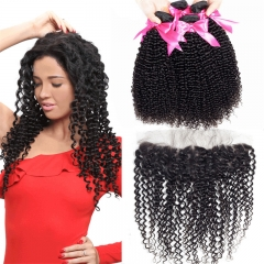 4 Bundles Kinky Curly Hair Weft With 13x4 Lace Frontal And Baby Hair
