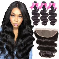 3 Bundles Body Wave Hair Extensions With 13x4 Transparent HD Lace Frontal