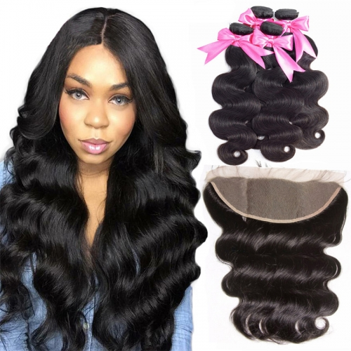 4 Bundles Body Wave Extensions With Transparent HD Lace Frontal Wtih Baby Hair Machine Double Weft Hair