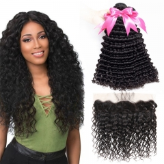 3 Bundles Deep Wave Hair Extensions With 13x4 HD Transparent Lace Frontal With Baby Hair