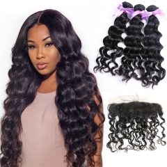 3 Bundles Natural Wave Wavy Hair Weft With 13x4 HD Transparent Lace Frontal With Baby Hair Full And Thick