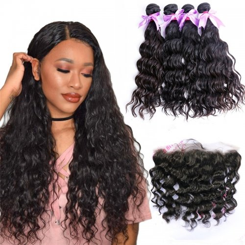 4 Bundles Water Wave Hair Weft With Lace Frontal Wtih Baby Hair Machine Double Weft Hair