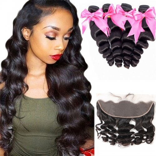 4 Bundles Loose Wave Hair Weft With Lace Frontal Wtih Baby Hair Machine Double Weft Hair
