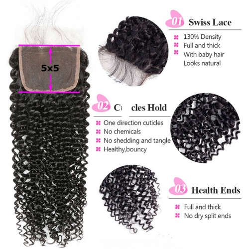 5x5 Kinky Curly Lace Closure Virgin Hair Pre Plucked Hairline Hand Tied Medium Brown Lace