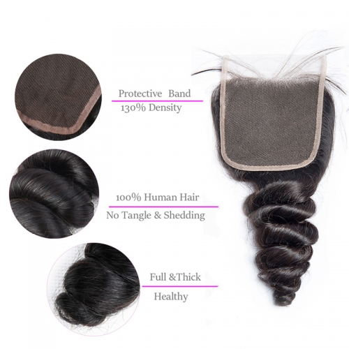 5x5 Loose Wave Lace Closure Medium Brown Lace Hand Tied Bleached Knots Human Hair