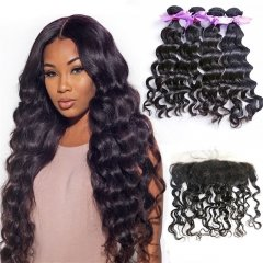 4 Bundles Natural Wave/Wavy Hair Weft With Lace Frontal Wtih Baby Hair Machine Double Weft Hair