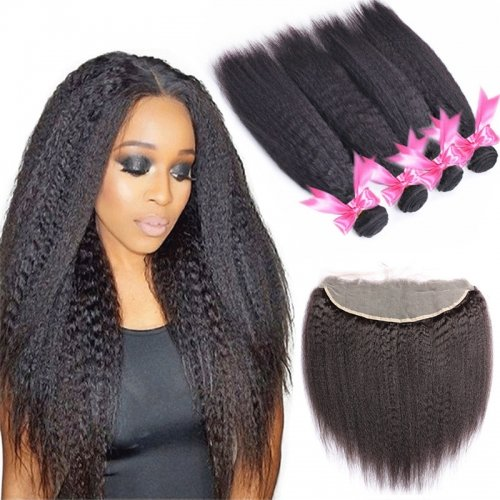 4 Bundles Kinky Straight Hair Weft With Lace Frontal Wtih Baby Hair Machine Double Weft Hair