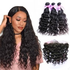 3 Bundles Water Wave Hair Weft With 13x4 Lace Frontal Virgin Hair Extensions