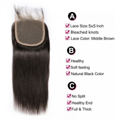 5x5 Straight Lace Closure Virgin Hair Medium Brown Lace Pre Plucked Hairline Swiss HD Lace