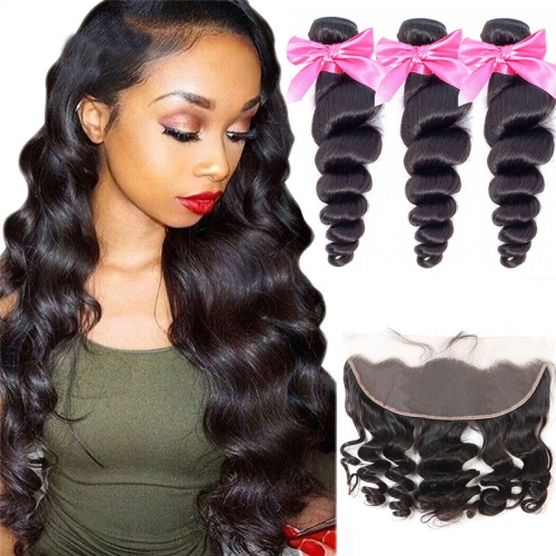 3 Bundles Loose Wave Hair Weft With 13x4 Lace Frontal Near Me