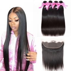 4 Bundles Straight Extensions With Lace Frontal Wtih Baby Hair Machine Double Weft Hair
