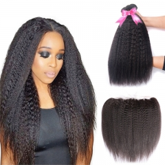 3 Bundles Kinky Straight Hair Weft With 13x4 Lace Frontal Sew In