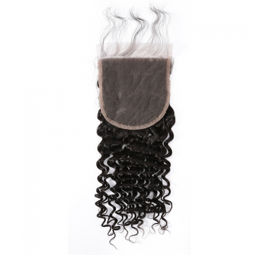 5x5 Deep Wave/Curly Lace Closure Medium Brown Lace Human Hair Baby Hair No Shedding No Tangle
