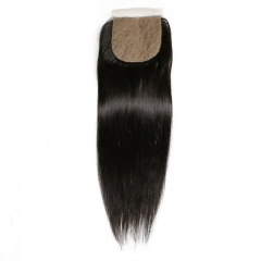 Straight 4x4 Silk Base Lace Closure Bleached Knots Pre Plucked Hairline Natural Headline Human Hair