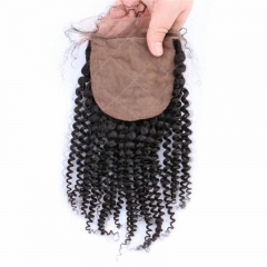 Kinky Curly 4x4 Silk Base Lace Closure Baby Hair Bleached Knots Hand Tied Pre Plucked Hairline