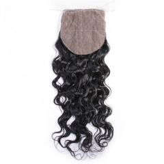 Water Wave 4x4 Free Part Silk Base Lace Closure Hand Tied Medium Brown Lace