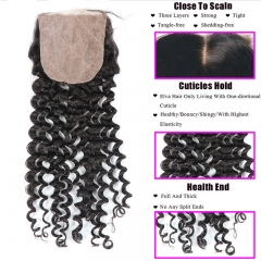 Deep Wave/Curly 4x4 Silk Base Lace Closure Natural Headline Medium Brown Lace Human Hair Baby Hair