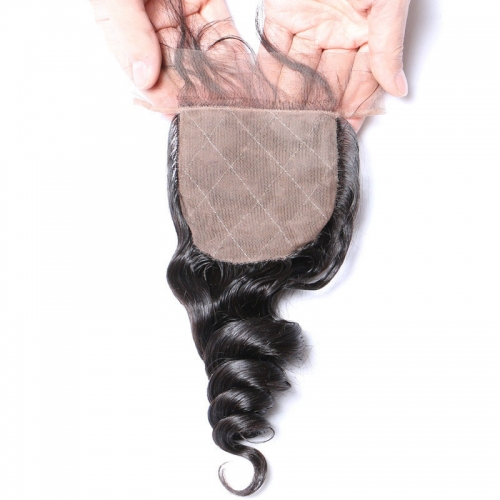 Loose Wave 4x4 Silk Base Lace Closure Pre Plucked Hairline Human Hair Medium Brown Lace Hand Tied