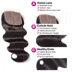 BodyWave 4x4 Silk Base Lace Closure Medium Brown Lace Natural Headline Pre Plucked Hairline Bleached Knots