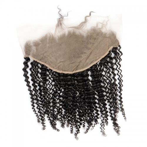 13x6 Kinky Curly Lace Frontal Medium Brown Lace Hand Tied Swiss Lace Can Be Permed
