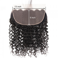 13x6 Deep Wave Curly Lace Frontal No Shedding No Tangle Suitable Dying Colors Pre Plucked Hairline Swiss Lace