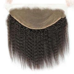 13x6 Kinky Straight Lace Frontal Bleached Knots With Baby Hair Can Be Permed Human Hair