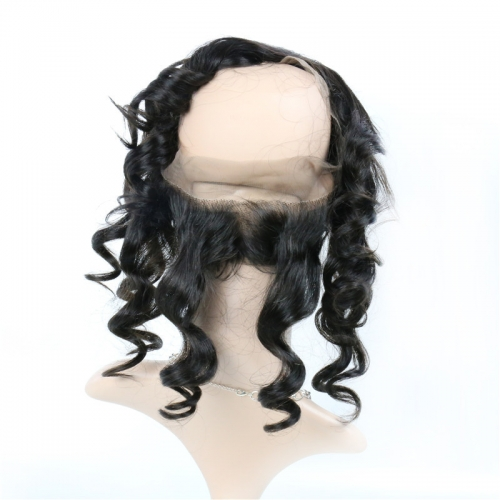 360 Frontal Loose Wave Swiss Lace Natural Headline Pre Plucked Hairline Bleached Knots