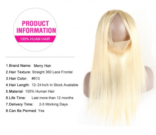 613 Straight 360 Frontal Pre Plucked Hairline Hand Tied Blond Color Human Hair