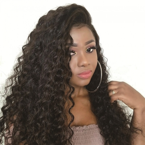 Curly Deep Wave Lace Front Wig Average Size Transparent Lace Plucked Hairline