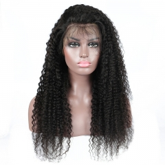 Full Lace Wig Kinky Curly Bleached Knots Natural Color Natural Headline No Chemical Processing