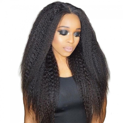Full Lace Wig Kinky Straight Remy Hair Human Hair Suitable Dying Colors Black Color