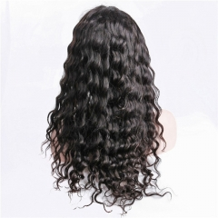 Full Lace Wig Water Wave Black Color No Shedding No Tangle No Chemical Processing Swiss Lace