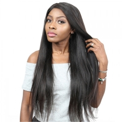 Full Lace Wig Yaki Straight Remy Hair No Chemical Processing Human Hair Suitable Dying Colors