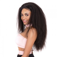 Kinky Straight Lace Front Wig 300% Density Remy Hair Bleached Knots No Chemical Processing Human Hair