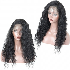 13x6 Lace Front Wig Water Wave No Shedding No Tangle With Baby Hair Hand Tied Natural Color