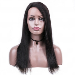 Straight Lace Front Wig 300% Density Hand Tied No Shedding No Tangle Black Color With Baby Hair