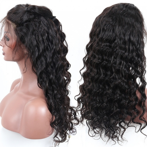 Natural Wave Wavy Lace Front Wig 300% Density Remy Hair Hand Tied No Chemical Processing Glueless