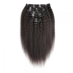 Kinky Straight 100g-130g 16 Inch-26 Inch Head Made Remy Hair 10Pcs Clips In 100% Human Hair