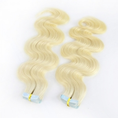 613# 100G Tape In Human Hair Extensions BodyWave Machine Remy Hair On Adhesives Invisible Tape PU Skin Weft